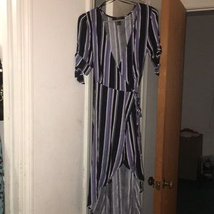Only worn once.High and low striped wrap dress
